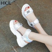 HKJL New summer 2019 fish-toe ladies sandals with high heels, wedges sequins platforms and peep-toe loafers A087