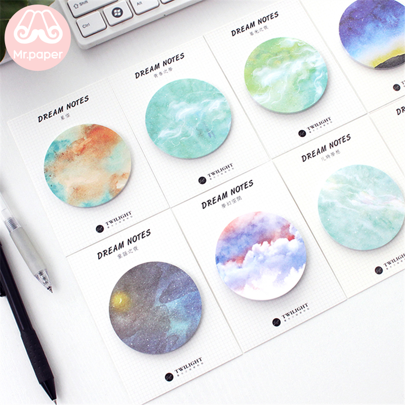 Mr Paper 30pcs/lot 8 Designs Dreamy Sky Circle Round Memo Pads Sticky Notes Notepad Diary Creative Self-Stick Notes Memo Pads