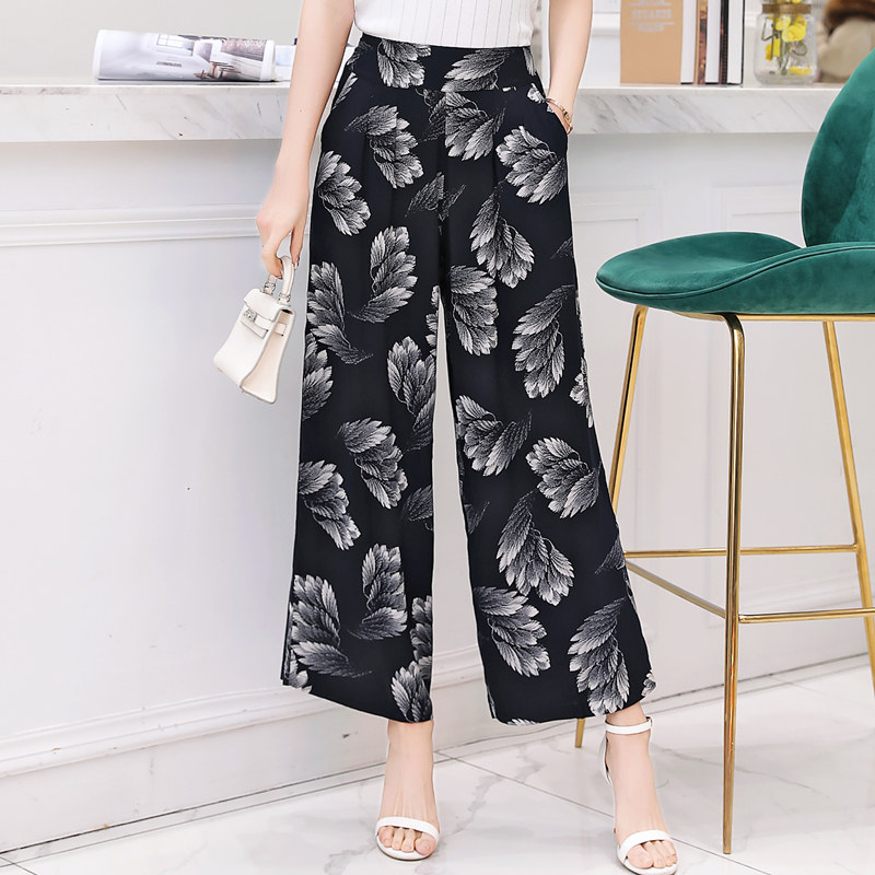 2019 Summer Holiday Bohemian High Waist Tropical Print   Wide     Leg     Pants   Loose Cotton Silk Female   Pants   with Pockets Plus Size 4XL