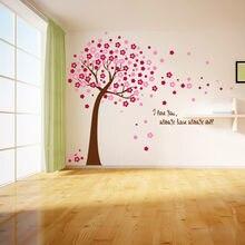 Pink Sakura Flower Cherry Blossom Tree Removable Wall Sticker For Living Room Bedroom DIY Vinyl Art Mural Wall Decals Home Decor(China)