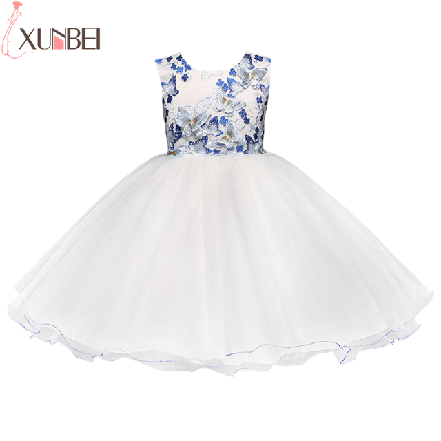 Schöne Schmetterling Spitze Blumenmädchen Kleider 2018 Blau Weiß ...