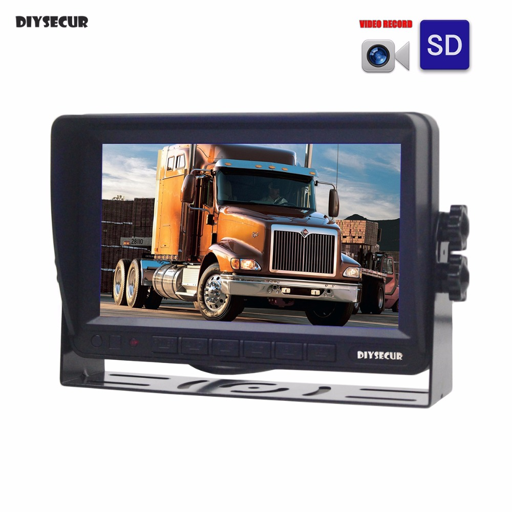 DIYSECUR AHD 7inch TFT LCD Car Monitor Rear View Monitor Support Pixels AHD Camera Support SD Card Video Recording