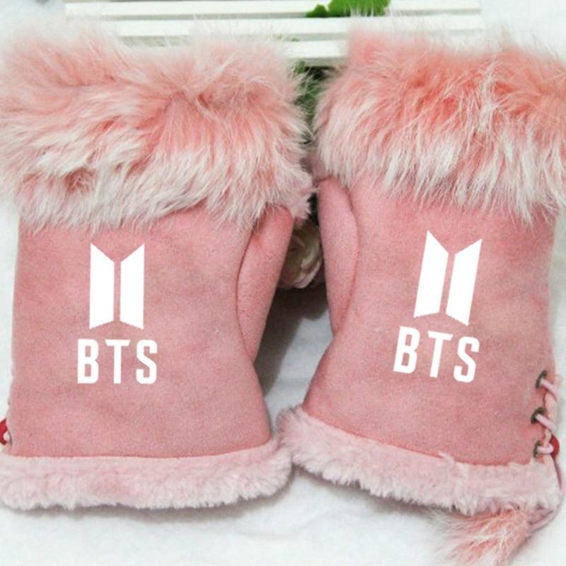 2019 New Kpop BTS Bangtan Boys Girl's Winter Fashion Gloves Printed Warm Half-finger Gloves
