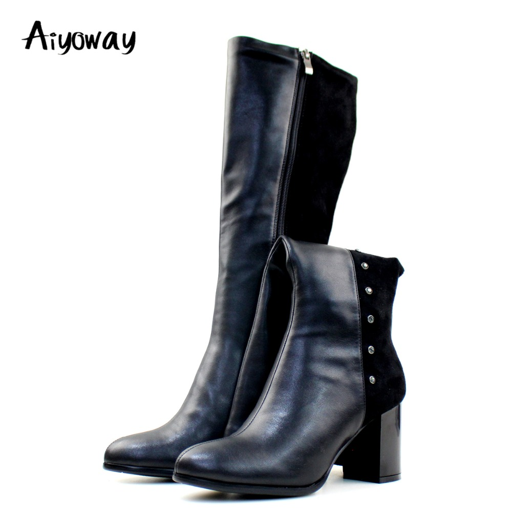Aiyoway Fashion Women Ladies Round Toe Block Heel Knee Boots Patchwork Autumn Winter Casual Boots Studs Black US Size 5-12Aiyoway Fashion Women Ladies Round Toe Block Heel Knee Boots Patchwork Autumn Winter Casual Boots Studs Black US Size 5-12