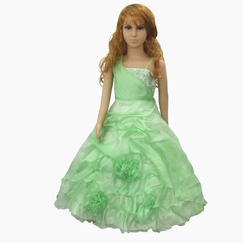 Free Shipping Sales Green Child Party Dress Cheap Pageant Ball Gowns One Shoulder Mid Calf Kids Evening Dresses For Girl 6 Years free shipping 3m pvc inflatable playground zorb ball for kids human hamster ball grass zorbing ball durable zorb ball