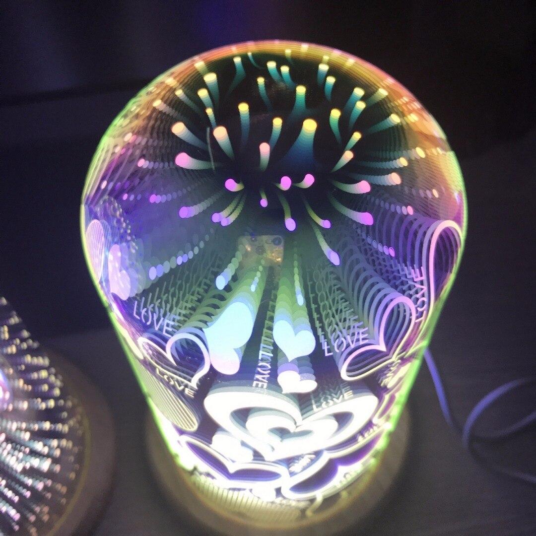 3D USB Стекло Starburst красочные светодиодный настольная лампа акцент прикроватная ночник Декор