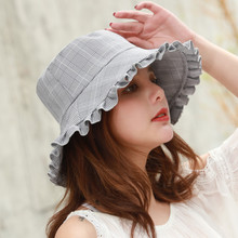 New hat ladies summer lace mixed color plaid cotton outdoor sun protection basin cap folding fisherman