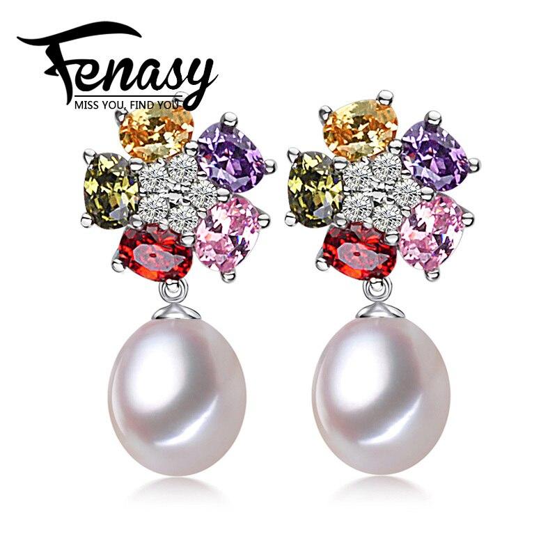 FENASY äkta naturliga pärlörhängen 925 sterling silver mode blomma färgglada långa droppörhängen för kvinnor med smyckeskrin