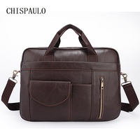 CHISPAULO Genuine Leather Vintage Men Bags Briefcase Vintage Retro Large Capacity Style Factory Wholesale Bags Casual