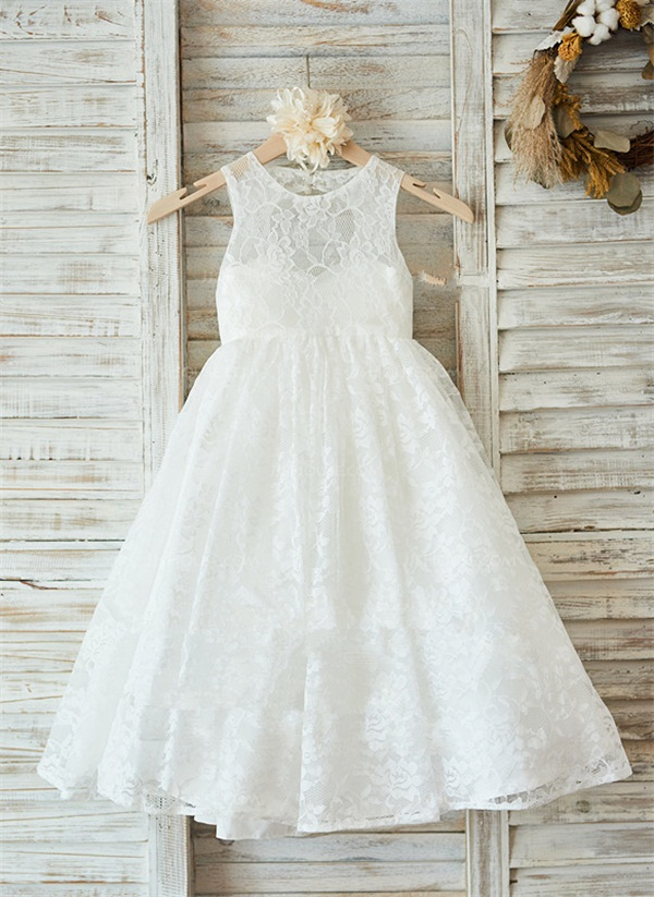 New Arrival Flower Girl Dresses for Wedding Little Girls Kids/Child Dress Lace Keyhole Back Ball Party Pageant Communion Dress