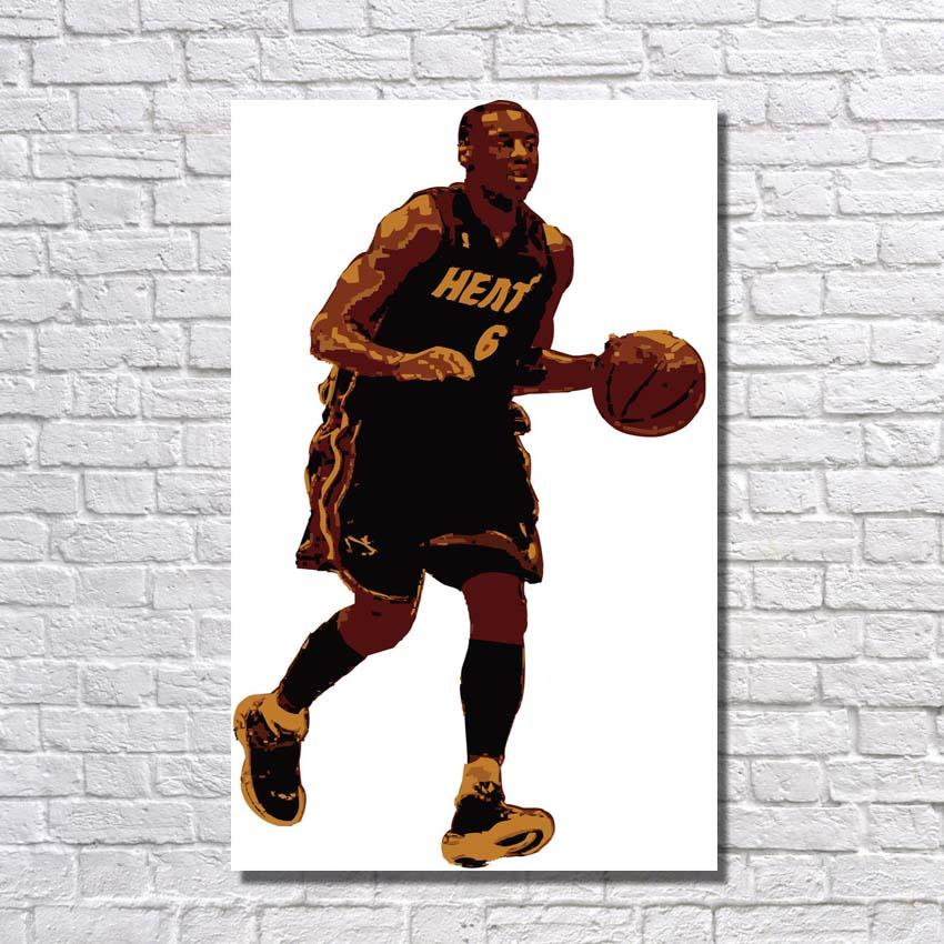 Art moderne photo peint à la main basket-ball étoile peinture à l'huile mur photos pour la décoration de la maison 1 pièce toile mur Art pas encadré
