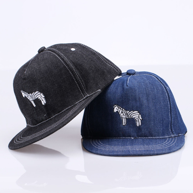Fashion gaya wanita pria denim cotton hip hop topi bordir kartun zebra  baseball cap snapback adjustable a755db6ff9