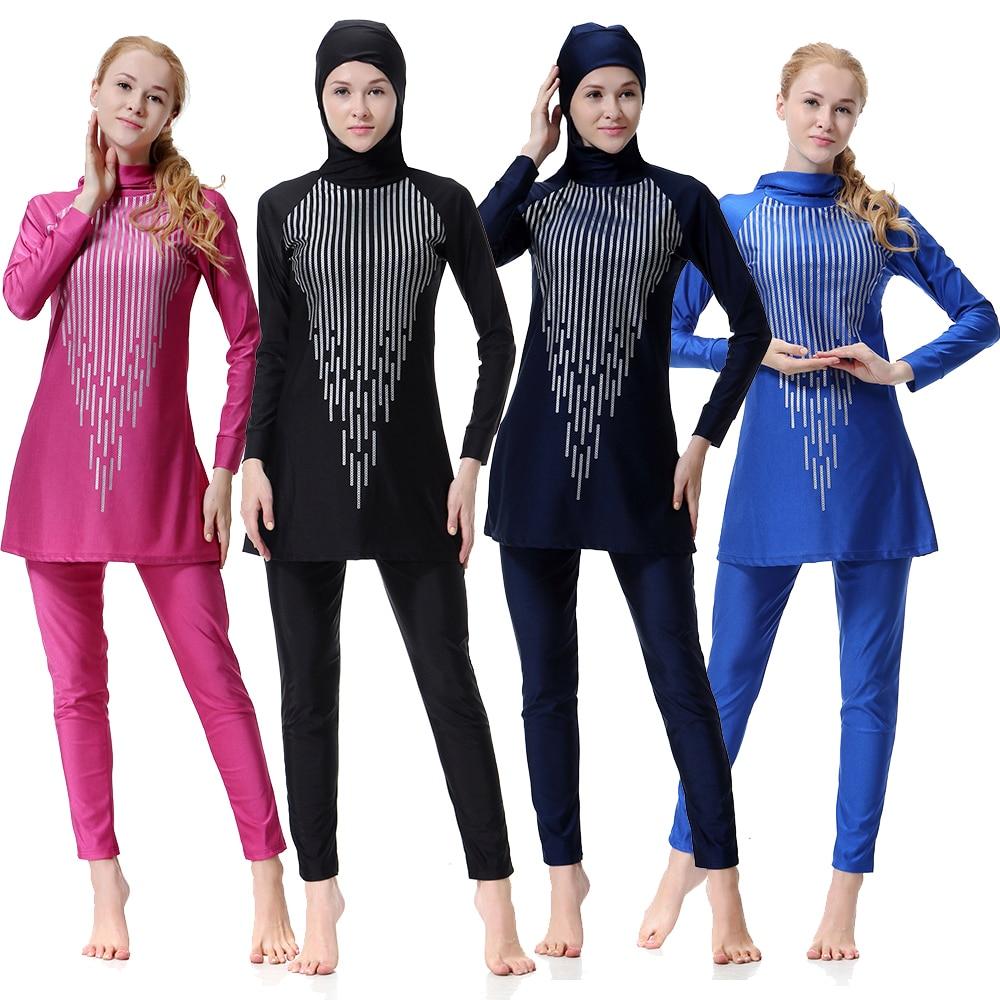 Women Muslim Set New Printed Muslim Swimsuit Sunscreen Islamic Lady Swimwear Muslim Sets Long Sleeve Full Cover W1 Activity & Gear