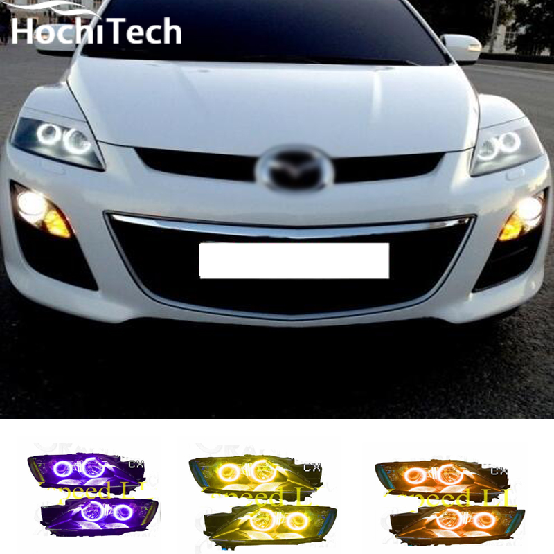 For Mazda cx-7 cx 7 RGB LED headlight halo angel eyes kit car styling accessories 2006 2007 2008 2009 2010 2011 2012 hochitech for mazda cx 7 cx 7 2006 2012 car styling rgb led demon angel eyes kit halo ring day light drl with a remote control