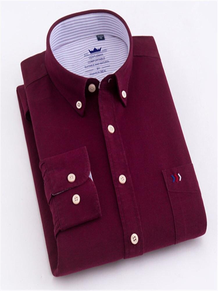 Image 3 - Мужские классические рубашки с длинным рукавом и одним передним нагрудным карманом из 100% хлопка, повседневные мужские топы на пуговицахРубашки для смокинга    АлиЭкспресс