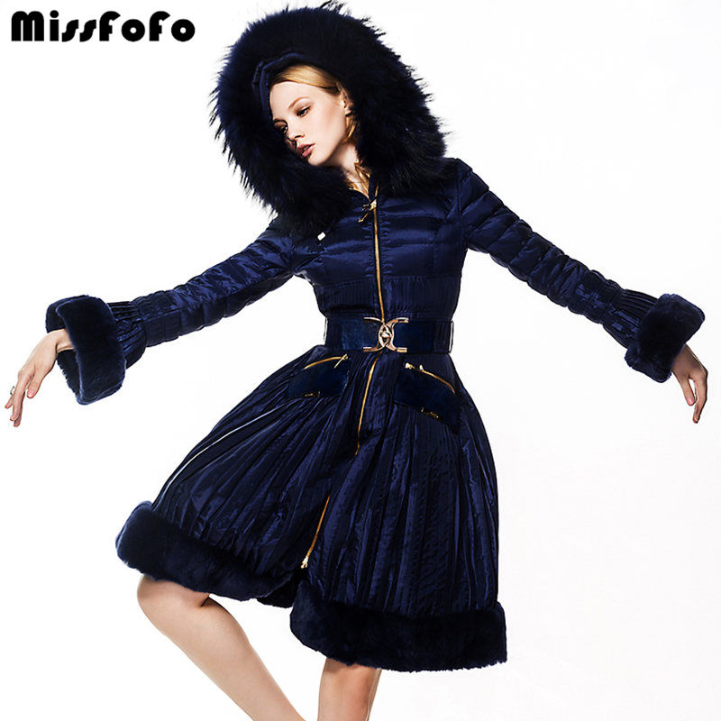 Miss FoFo Brand Women Down Coats RoyalCat Jackets High Quality Real Rabbit Fur Dress Down 2XL