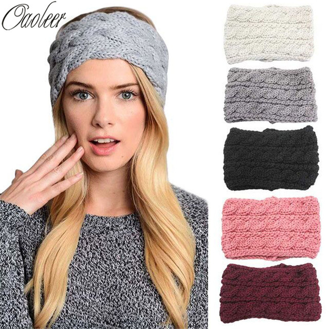 Women Winter Warm Crochet Bow Headbands Handmade Knitted Turban