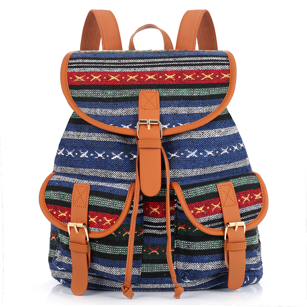 Sansarya 2017 Vintage Bohemian Thai Woven Boho Backpack School Bag Aztec Bagpack Rucksack Casual Daypack Tribal Drawstring Bag free shipping vintage hmong tribal ethnic thai indian boho shoulder bag message bag pu leather handmade embroidery tapestry 1018