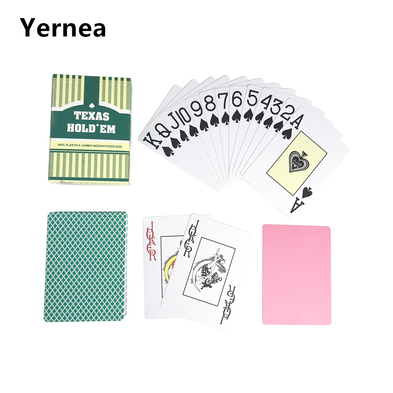Yernea 1 Set Baccarat Texas Holdem Plastic Frosting Poker Cards Playing Cards Green And Brown Board Games 2.48*3.46 inch