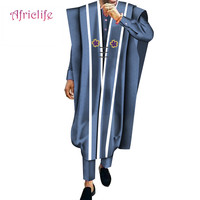 African Casual Robe,Shirt and Pant Set 3 Pieces Cotton Pant Suit African Print Men Wedding Party Traditional Clothing WYN572
