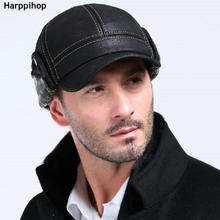 New Fashion Mens Scrub Genuine Leather baseball Winter Warm Hat / Cap 2colors