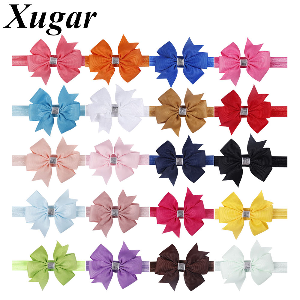 Baby & Toddler Clothing Hair Accessories 6pcs/Lot Grosgrain Solid Hair Bow Bands Headbands Accessories Hairband Flower