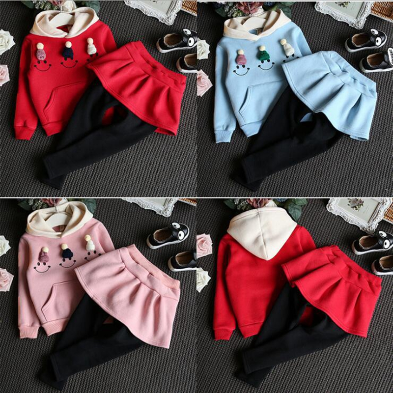 2017 Baby girl clothes Long Sleeve Child Winter Set Girl hooded sweater vestido infantil navidad children clothing Y6908 t100 children sweater winter wool girl child cartoon thick knitted girls cardigan warm sweater long sleeve toddler cardigan