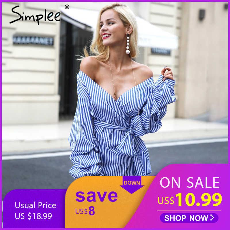 Осенне-зимнее женское платье Simplee, платье-рубашка с запахом, открытыми плечами, рукавами-фонариками, в голубую полоску с поясом, платье-рубашка в клетку