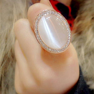 Fashion Vintage Bohemia artificial Cat s eye Stone Big Ring Rose Gold Plated Oval Crystal Exaggerated