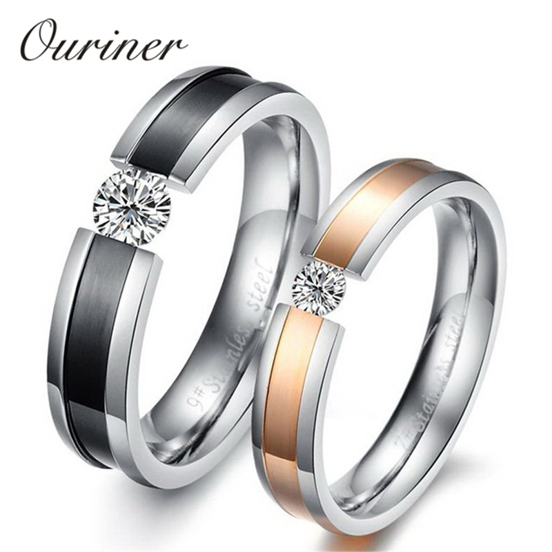Ouriner Free Engraved Name Rings For Lovers Simulated Crystal