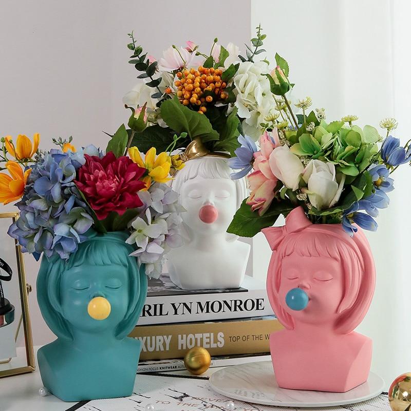 Creative Art Portrait Sculpture Head Vase Bubble Gum Girl Flower Vase Flower Arrangement Accessories Home Decoration