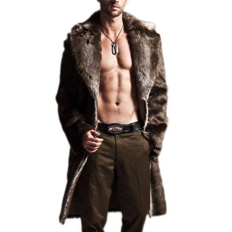 US $37.54 20% OFF Plus Größe Lange Faux Pelz Graben Mantel Männer Leder Mantel Winter Faux Pelz Jacke Herren Punk Flauschigen Parka Jacken Männlichen