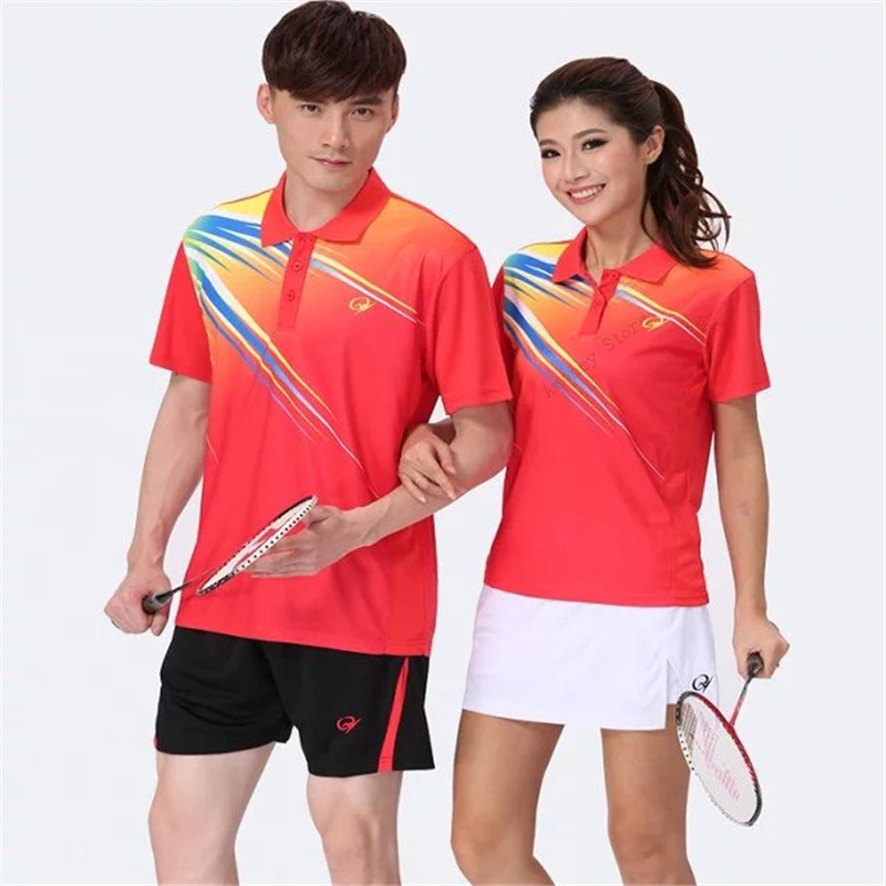 Adsmoney Badminton Suit Shirt With Shorts Skirt Mens V-Neck Shirt For Men/Women Short Sleeve Sports Jerseys Suit Golf Tennis