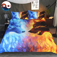 Fire And Ice By JoJoesArt Bedding Set 3pcs AU Size Queen King Bedlinens Watercolor Wolf Bedclothes