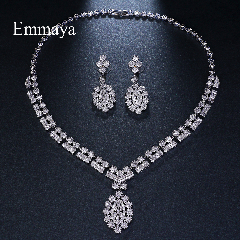 Emmaya Fashion Jewelry Flower Design Romantic White Gold Color AAA Cubic Crystal Wedding Jewelry Sets For Brides Jewelry Gift
