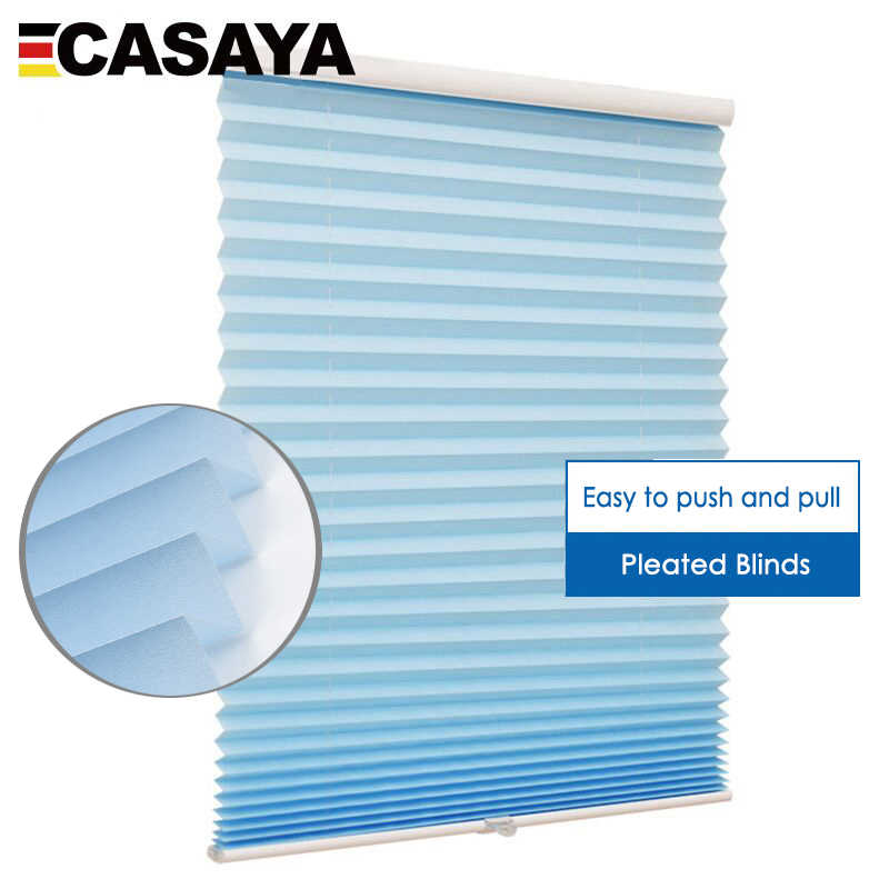 Hot Sale Cordless Pleated Blinds Light Transmission Fabric push and pull control Roller blinds Decorate for Living Room