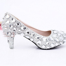 Beautiful Bridal Dress Shoes Crystal 6cm High Heel Wedding Dress Shoes Nightclub Party Prom Dress Shoes Rhinestone Shoes Pumps