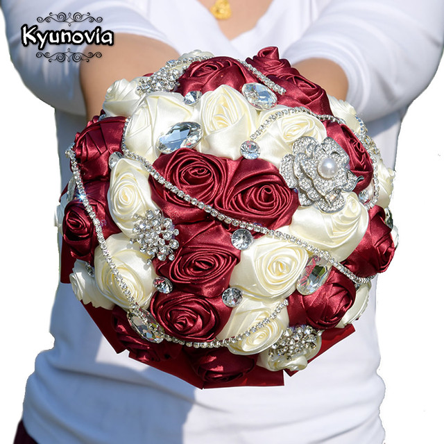 Kyunovia 6Styles Crystal Burgundy Wedding Bouquet De Mariee Satin ...