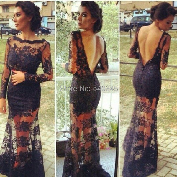 2014 Black Sexy Backless Mermaid Lace kim kardashian dresses vestidos Sheer Evening Dresses with Long Sleeve Celebrity Dress K2