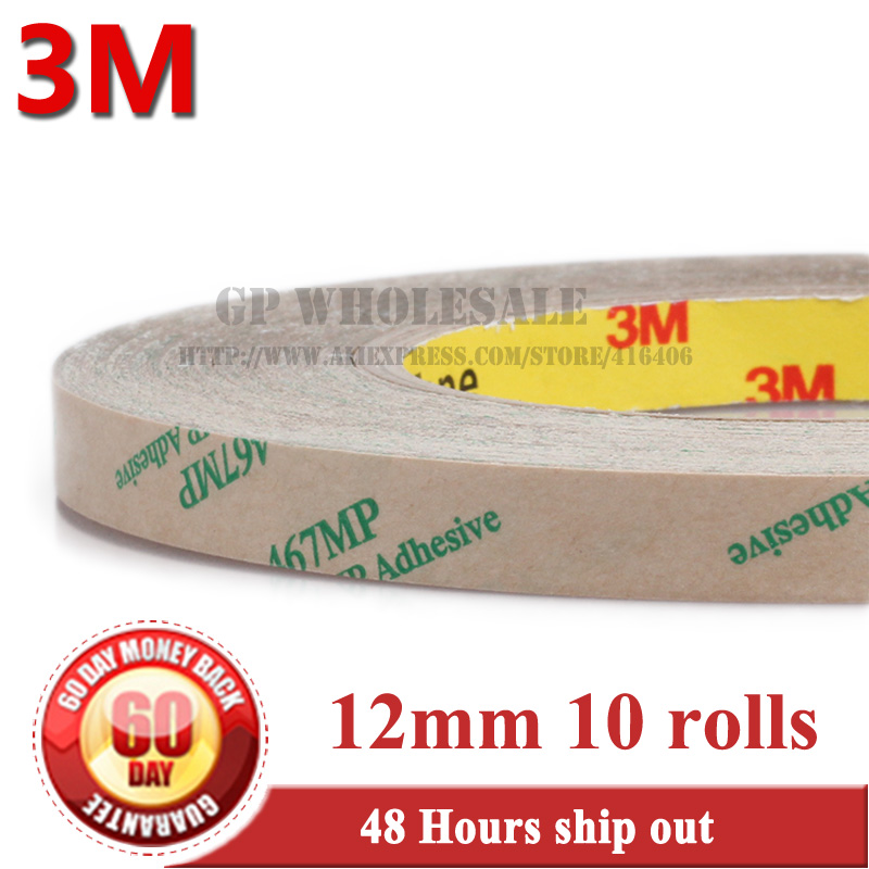 10x 0.06mm Thick, 12mm*55M 467MP Transfer Tape 200MP Adhesive, High Temperature Withstand freeshipping with tracking number 1021