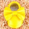 Amarelo shoes baby girl arco-nó infantil sola macia shoes presente multicolor moda baby shoes fundo macio amarelo shoes bebê menina