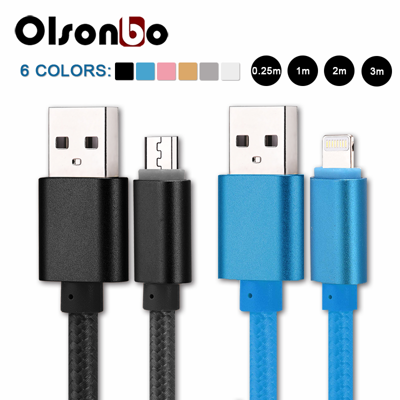 5V 2A Micro Usb Cable Mobile Phone Cables Nylon Data Charging For IPhone 7 6s Plus 5s 5 IPad Mini Samsung Sony HTC LG Android