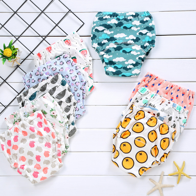 Reusable Baby Potty Training Pants Waterproof Infant Boys Girls Underwear Panties Cotton Washable Nappies Cloth Diapers