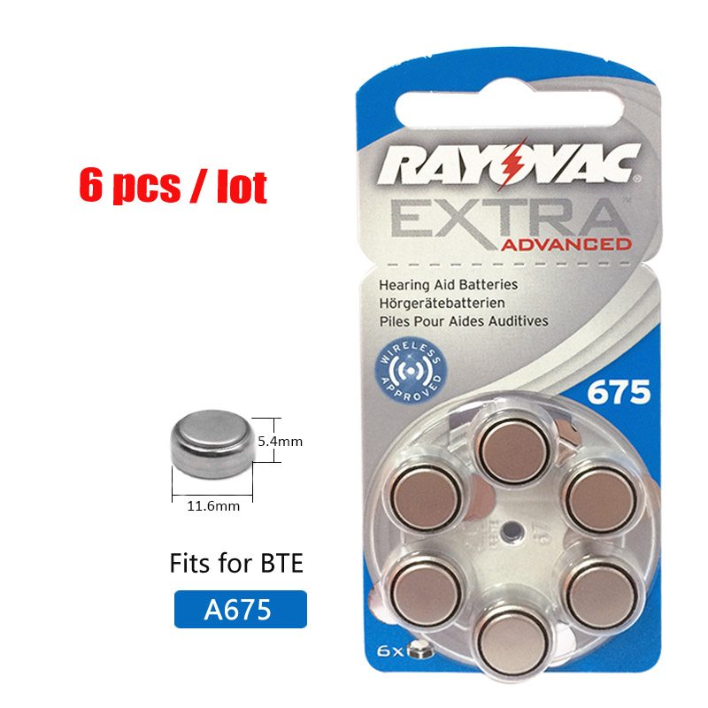 6PCS RAYOVAC EXTRA A675 Zinc Air Performance Hearing Aid Batteries PR70 675 A675 675A Hearing Aid Battery