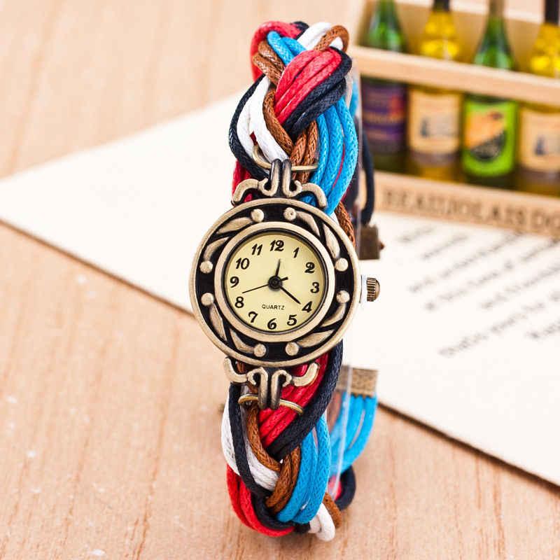 Wysokiej jakości moda Twisted bransoletki z zegarkiem kobiety na co dzień Retro tkaniny kwarcowe zegarki na rękę dla prezent 2017