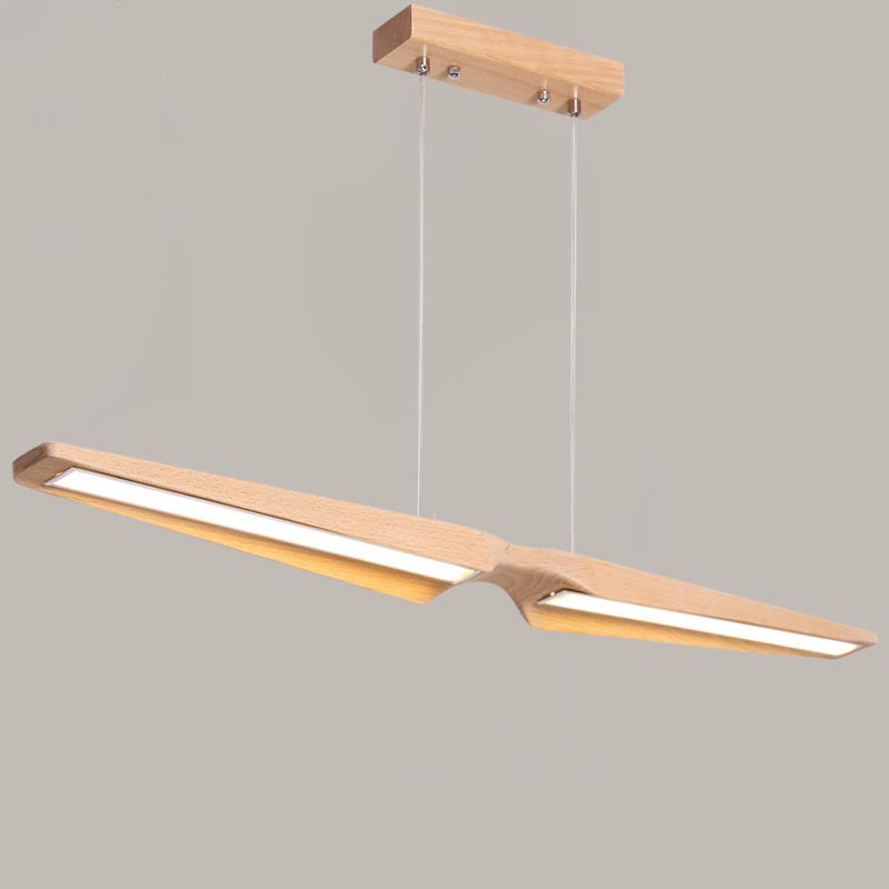 Nordic Beech Wood LED Pendant Light Dining Room Kitchen Island Long Hanging Lamp Modern Wood Lighting Fixture