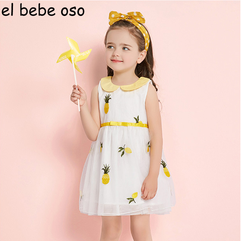 New Summer Girls Dress Pattern Dresses Peter pan Collar Sleeveless Lolita Style Princess Dress Cute Mesh Children Clothes XL291
