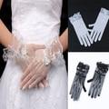 Women Lace Mesh Wrist Finger Length Glove Wedding Party Prom Knit Flower Crochet Mitten Adult Free shipping