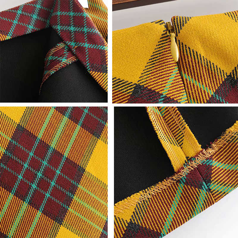e07a08fc6 ... GOPLUS 2019 Streetwear Fashion Sexy Autumn Winter Yellow High Waist  Plaid Skirt Womens A-line