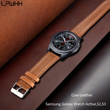 LPWHH Cow Leather Strap For Samsung Galaxy Watch Active Band Genuine Watchbands S2 S3 22 20 18mm